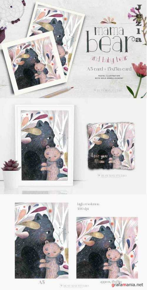 Mama Baby Bear Hug Pastel Illustration Card Rose Gold Leaves - 1173550