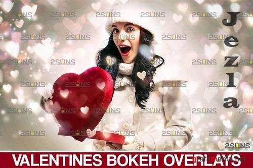 Valentine day overlay: Blowing heart digital backdrop (bokeh overlays)