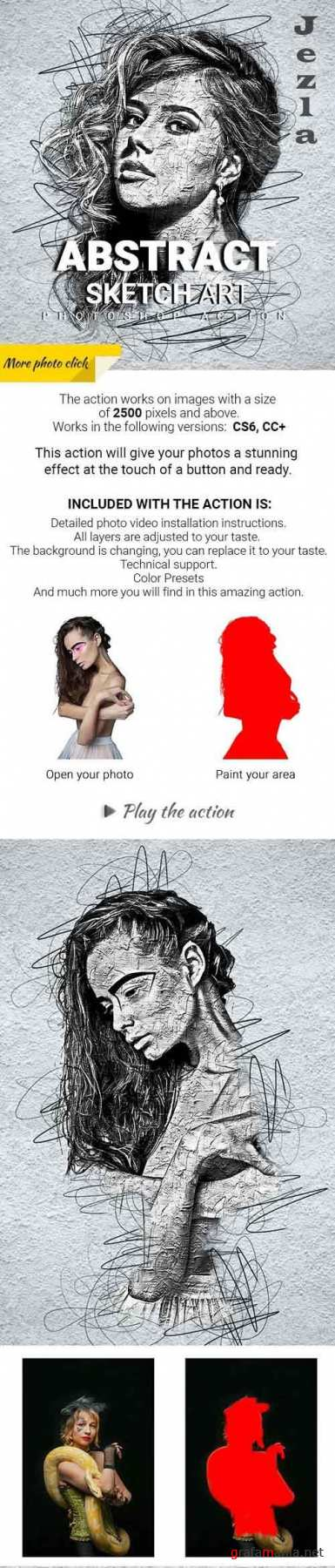 GraphicRiver - Abstract Sketch Art Photoshop Action 29913460