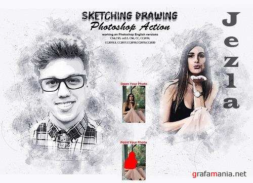 CreativeMarket - Sketching Drawing Photoshop Action 5737073