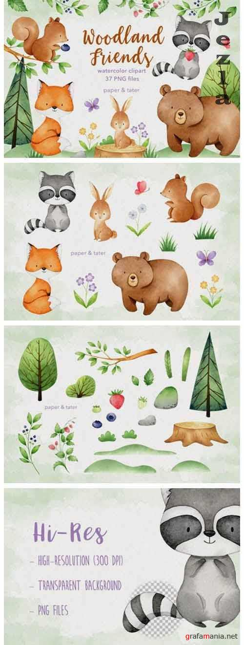 Watercolor Woodland Animals Clipart Graphics - 648948