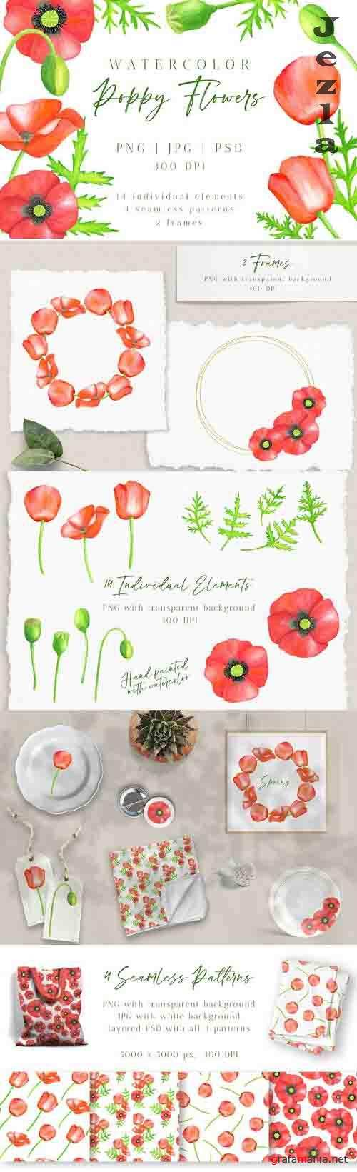 Red Poppy Flowers Clipart. Watercolor Floral PNG Collection - 1231936
