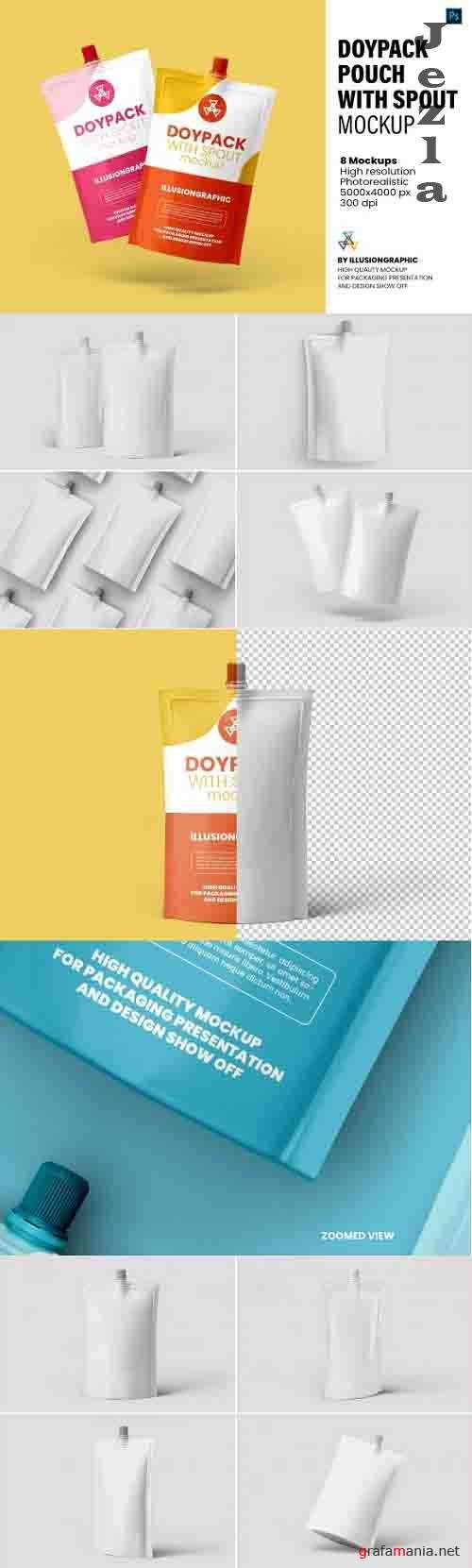 Doypack Pouch with Spout Mockup - 8 View