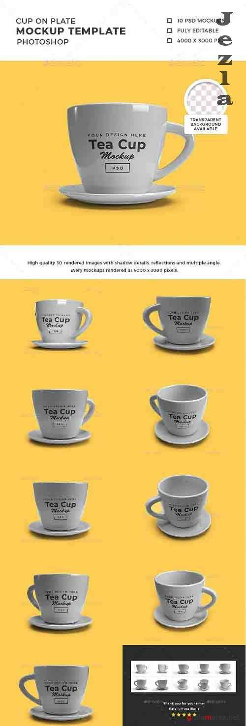 Tea Cup on Plate 3D Mockup Template - 30854968