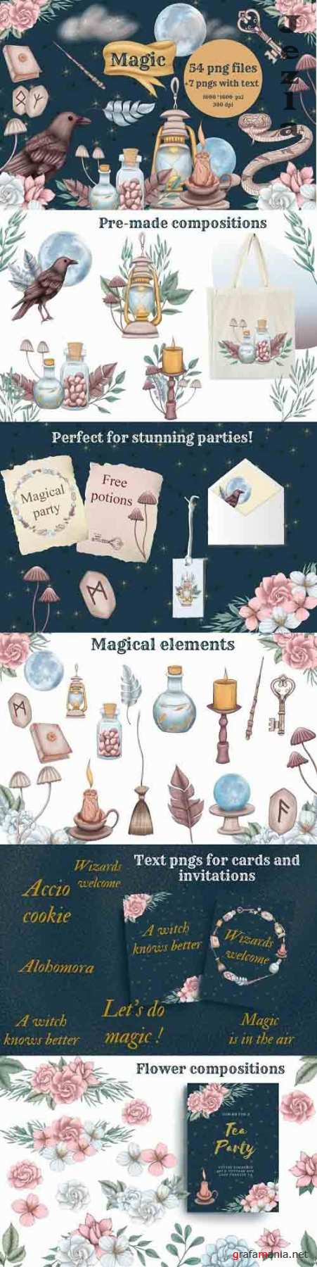 Wizard supples clipart, magic clip art, wand png, broom png - 1248747
