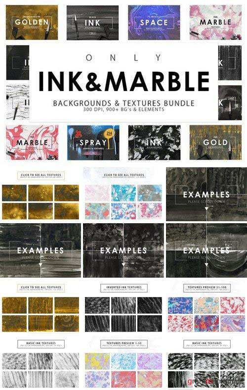 CreativeMarket – Only Ink & Marble Backgrounds Bundle 2352589