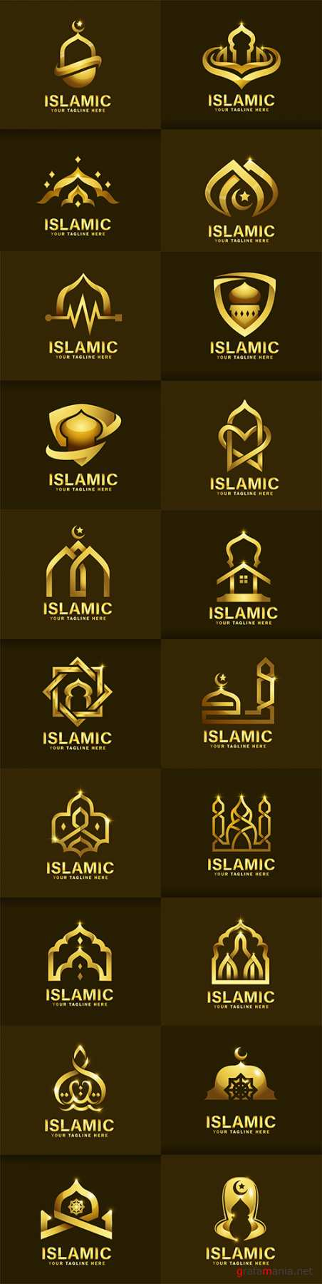 Luxurious Islamic logo template design golden mosque