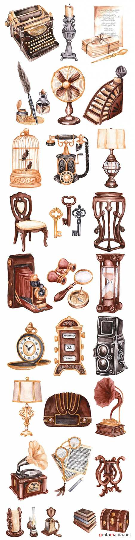Watercolor antique market design collection illustration