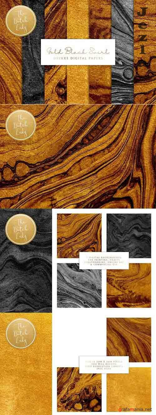 Gold & Black Paint Swirl Textures - 6001784