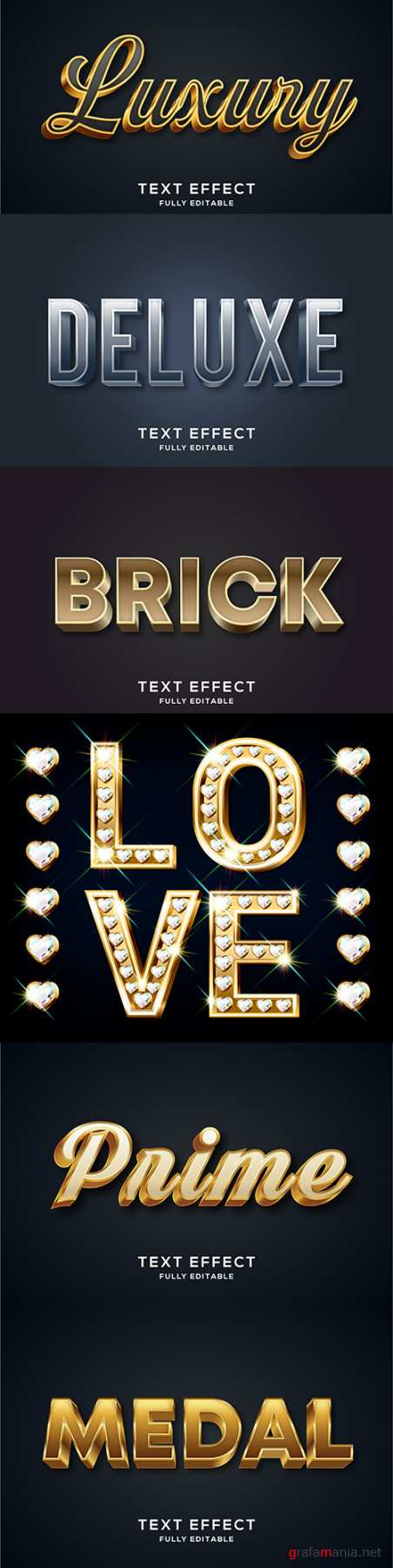 Editable font and 3d effect text design collection illustration 63