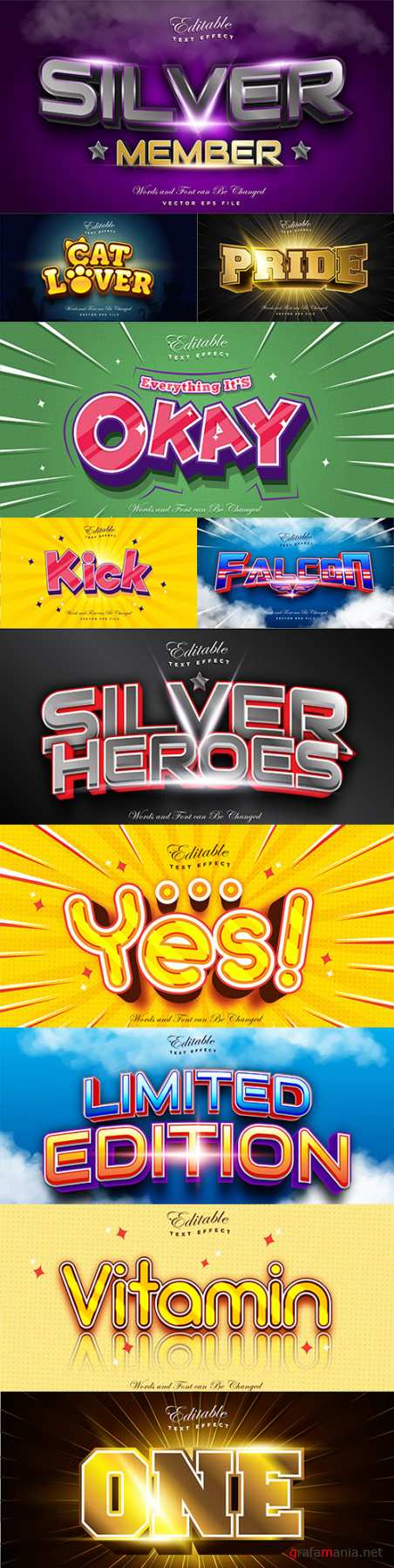 Editable font and 3d effect text design collection illustration 69