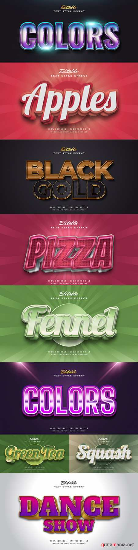 Editable font and 3d effect text design collection illustration 70
