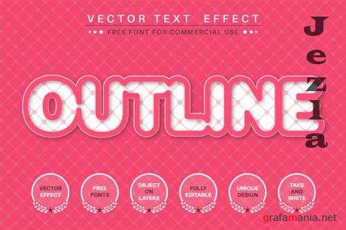 Pink Outline - editable text effect, font style