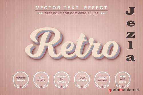 Retro - editable text effect, font style