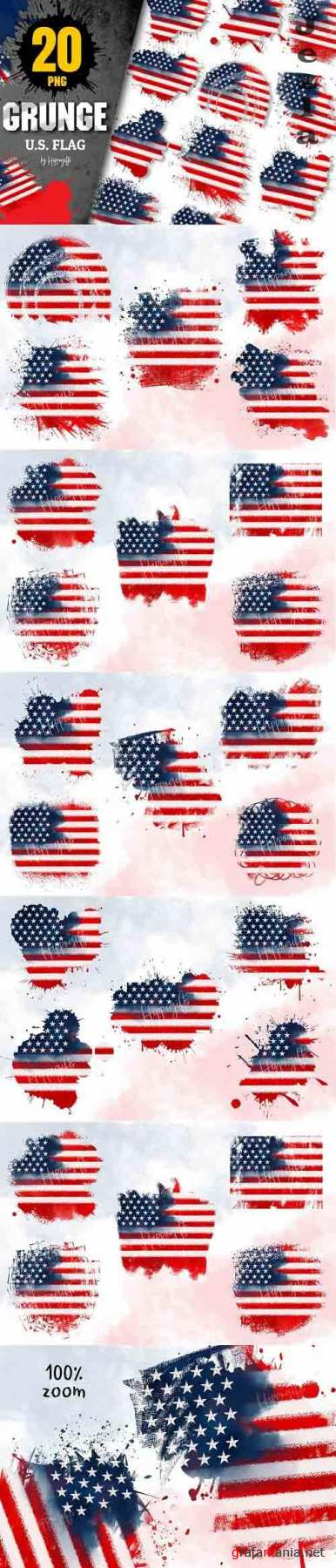 4th of July US Flag grunge clip art - 6147396