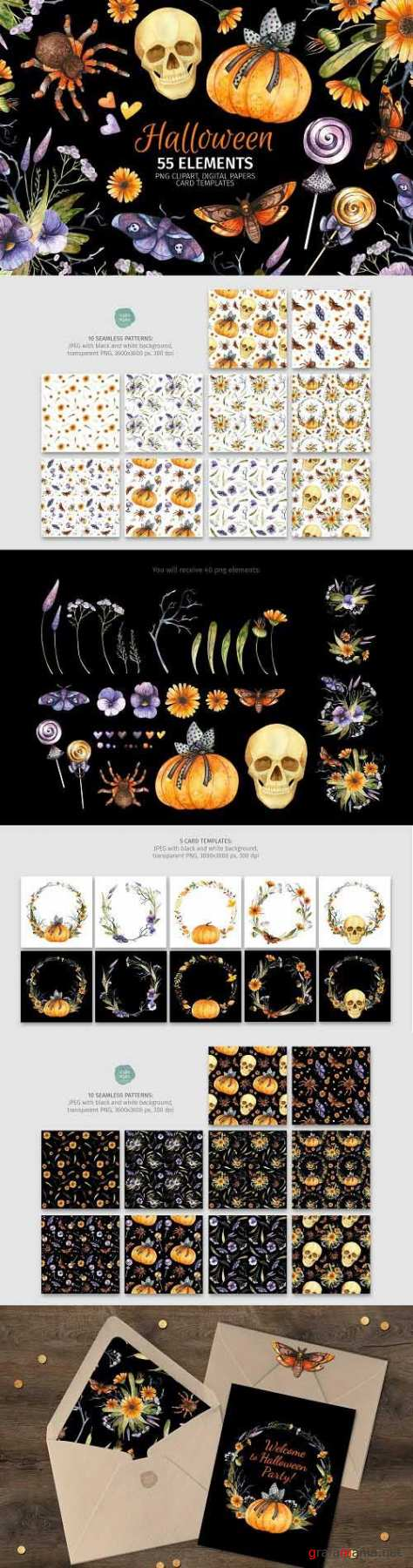 Halloween clipart, seamless patterns and card templates - 1481763