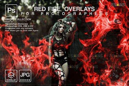 Red Fire background, Photoshop overlay, Burn overlays, Neon Fire - 1447879