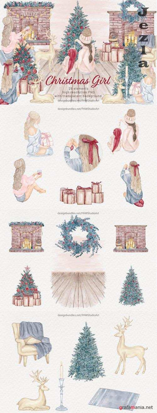 Christmas Girls Watercolor Clipart Winter Holidays New Year - 1644373