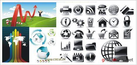 SS Internet Icons & Business Vectors Mix