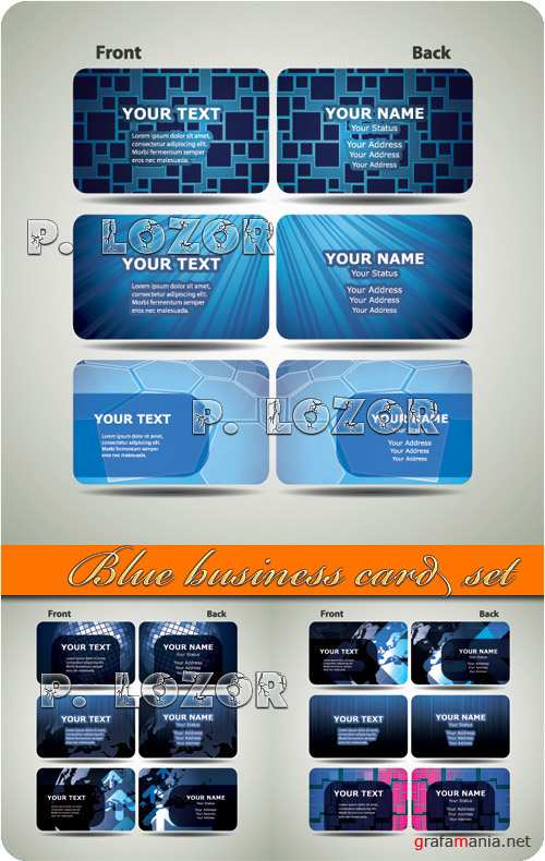Blue business card set