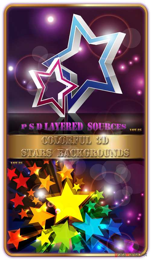Layered PSD sources Colorful 3D Stars Backgrounds