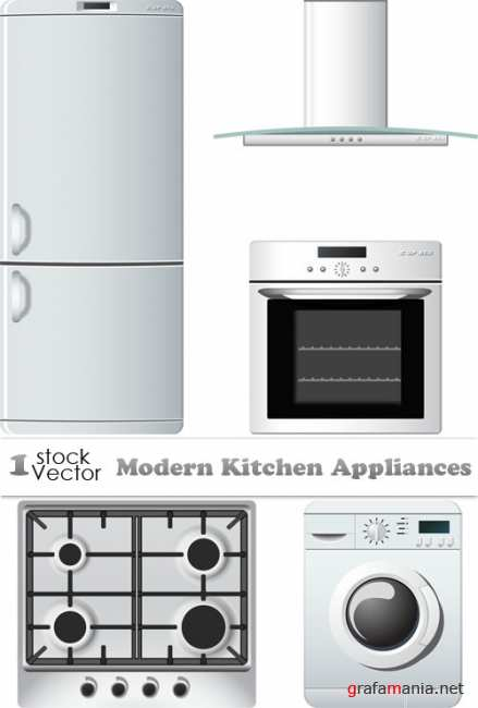 Modern Kitchen Appliances Vector