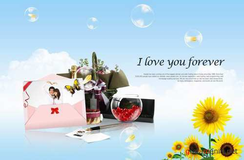 I love you forever PSD background