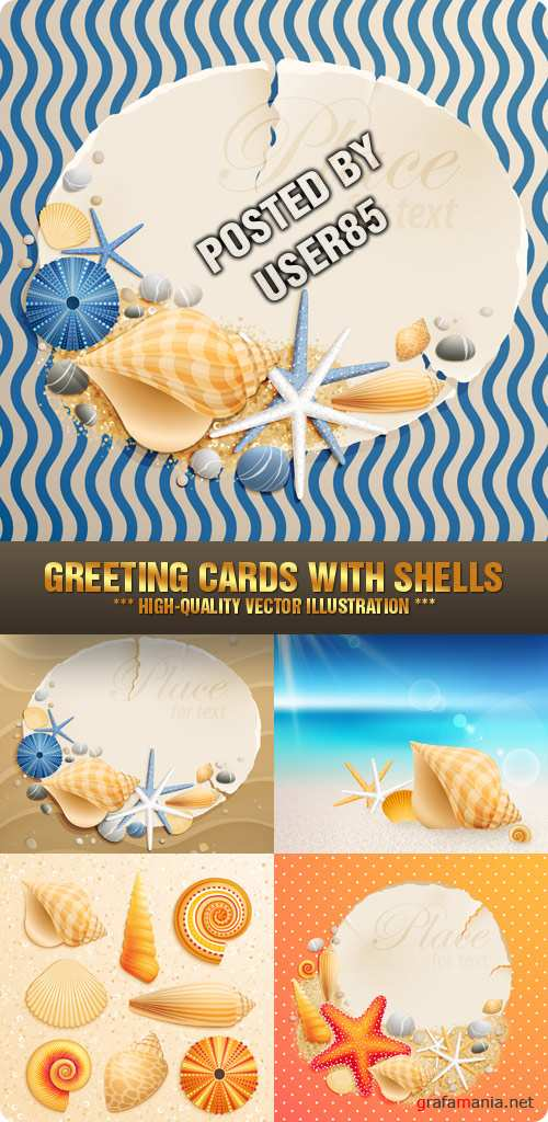 Stock Vector - Greeting Cards with Shells
