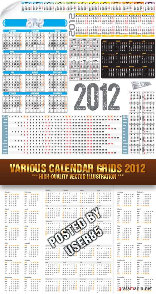 Stock Vector - Various Calendar Grids 2012