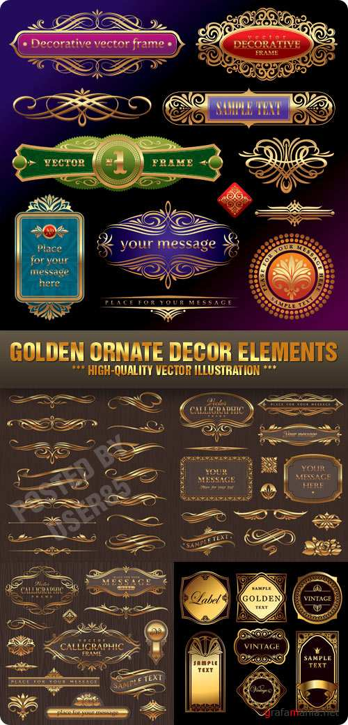 Stock Vector - Golden Ornate Decor Elements