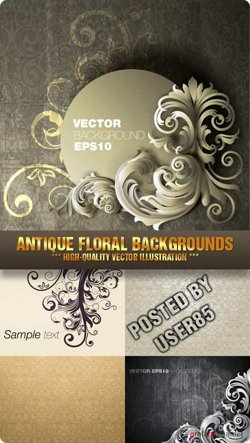 Stock Vector - Antique Floral Backgrounds