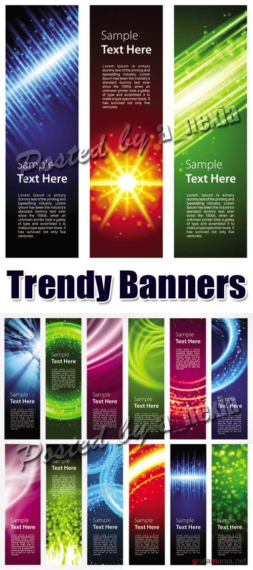 Trendy Color Banners Vector