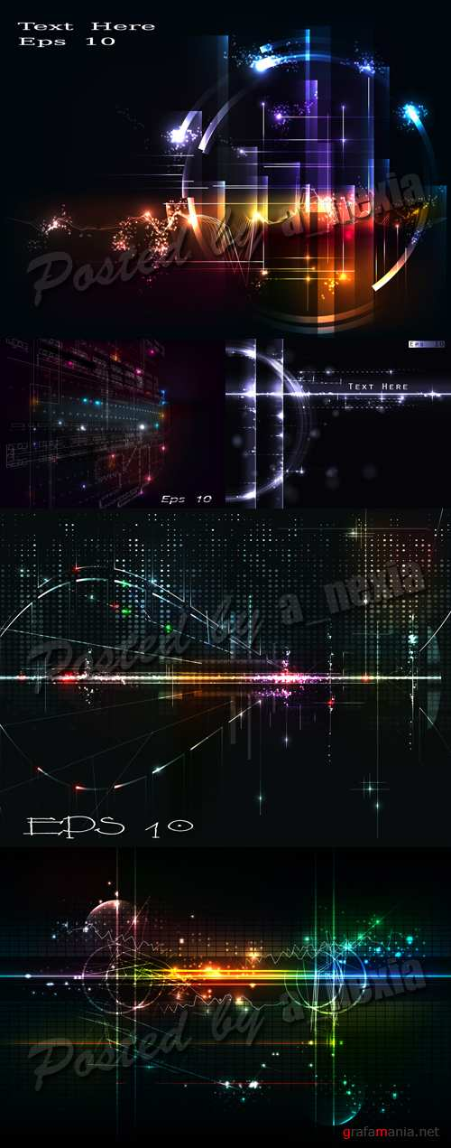 Glowing Digital Backgrounds Vector