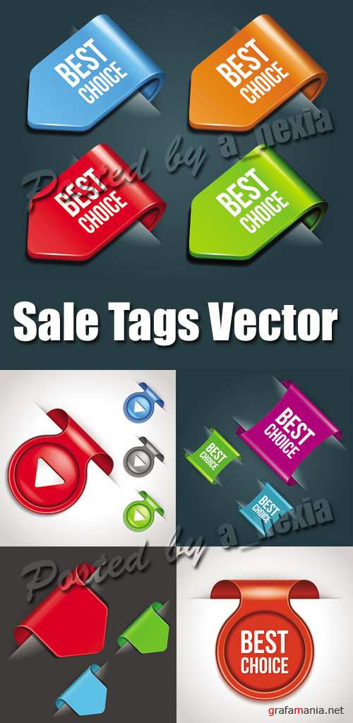 Color Sale Tags Vector