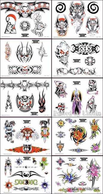 Tattoo Flash - Sheets + Lines  set 8