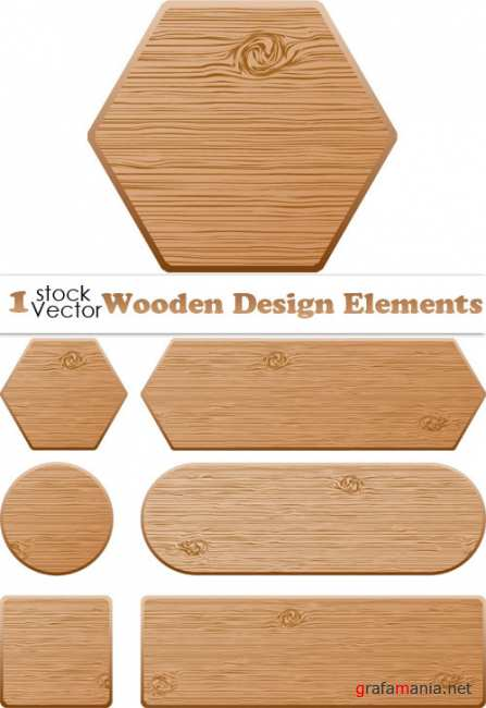 Wooden Design Elements Vector