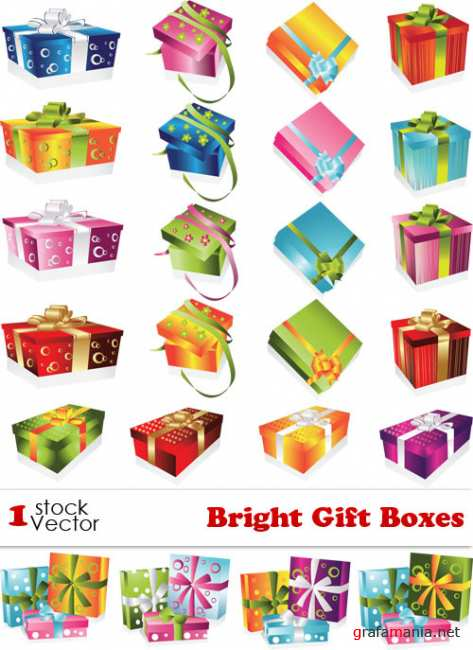 Bright Gift Boxes Vector