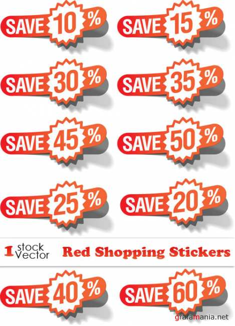Red Shopping Stickers Vector