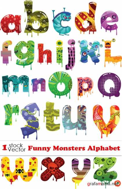 Funny Monsters Alphabet Vector