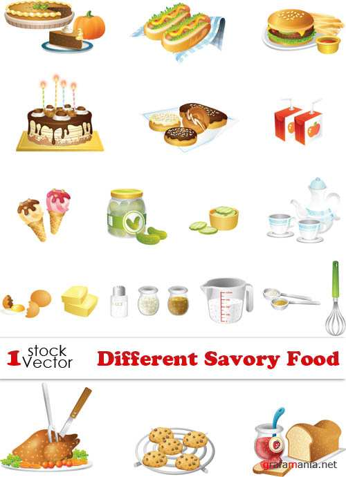 Different Savory Food Vector