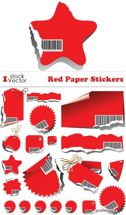 Red Paper Stickers Vector