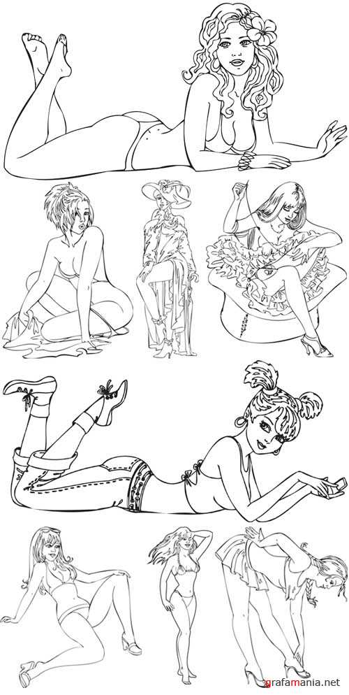 Vector Clipart Pinup Girls