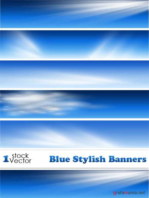 Blue Stylish Banners Vector