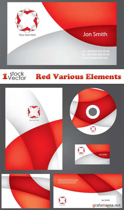 Red Various Elements Vector