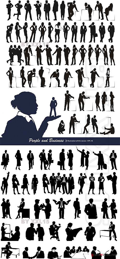 Silhouettes of business people 2