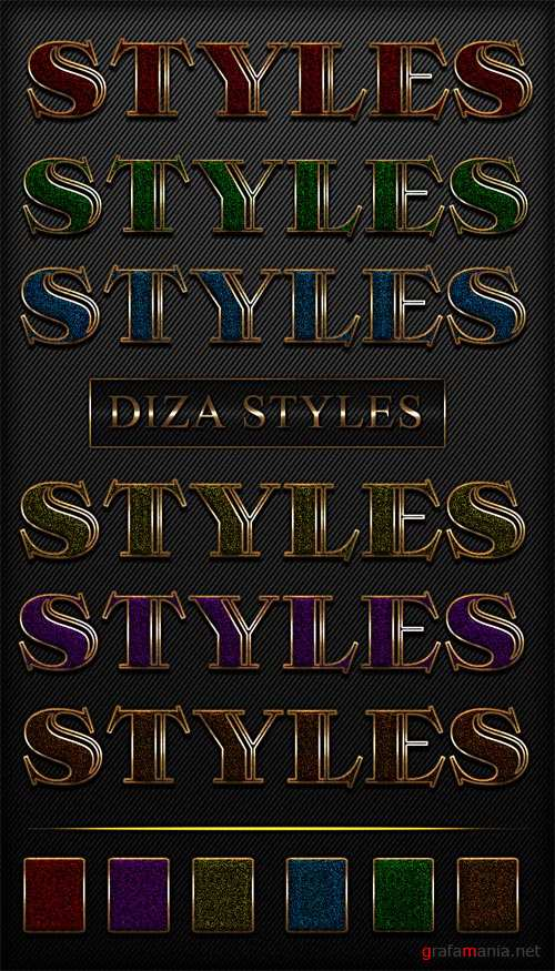 Bright colored styles with Golden border