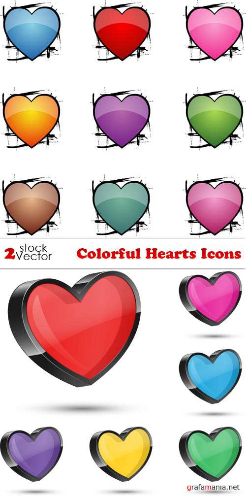 Vectors - Colorful Hearts Icons