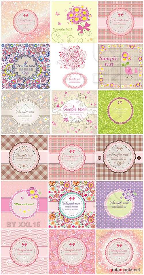 Cute greeting cards and labels