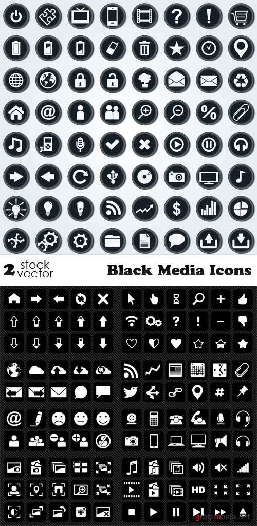 Vectors - Black Media Icons