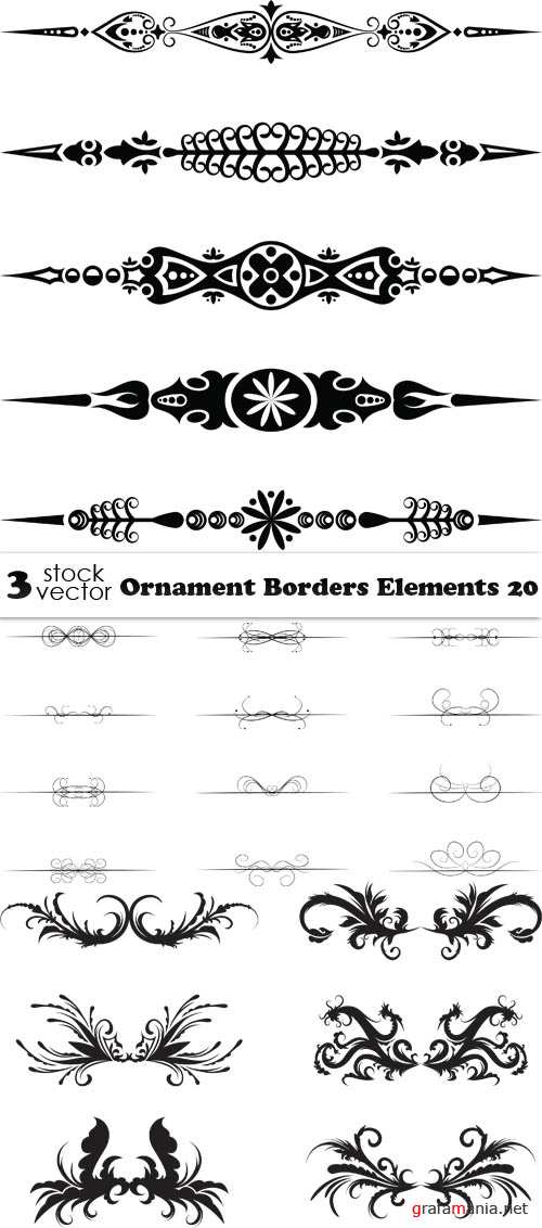Vectors - Ornament Borders Elements 20